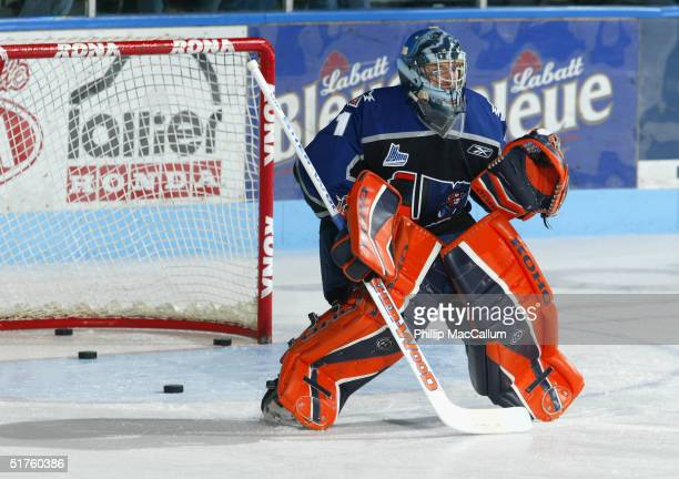 Jonathan Bernier of the Lewiston MAINEiacs warms up prior to the game against the Gatineau Olympiques on October 11, 2004 at Centre Robert-Guertin in...