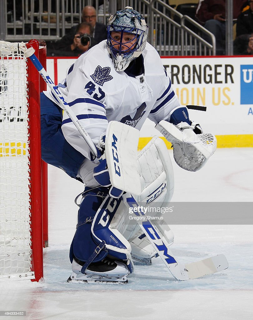 Jonathan Bernier #45 of the Toronto Maple Leafs defends the net against the Pittsburgh Penguins at Consol Energy Center on October 17, 2015 in Pittsburgh, Pennsylvania.