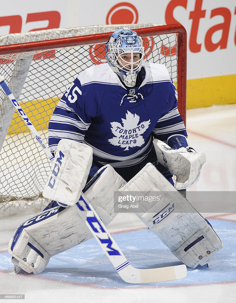 Jonathan Bernier #45 of the Toronto Maple Leafs in action against the Montreal Canadiens during NHL game action January 18, 2014 at the Air Canada Centre in Toronto, Ontario, Canada.