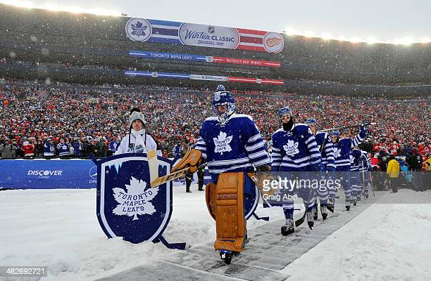 Jonathan Bernier of the Toronto Maple Leafs walks out to the ice against  the Detroit Red 7035eaba0