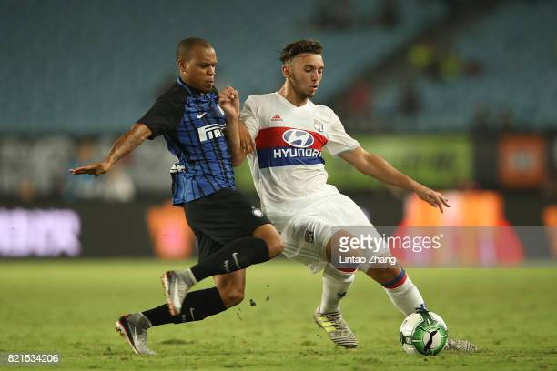 Jonathan Biabiany of FC Internationale competes for the ball with Amine Gouiri of Olympique Lyonnais during the 2017 International Champions Cup...