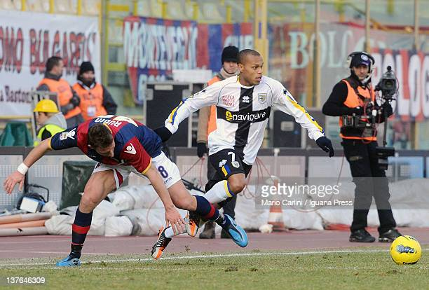 Jonathan Biabiany of Parma FC in action during the Serie A match between Bologna FC and Parma FC at Stadio Renato Dall'Ara on January 22 2012 in...