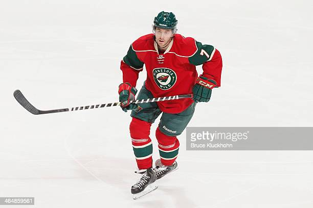 Jonathan Blum of the Minnesota Wild skates against the Colorado Avalanche during the game on January 11 2014 at the Xcel Energy Center in St Paul...