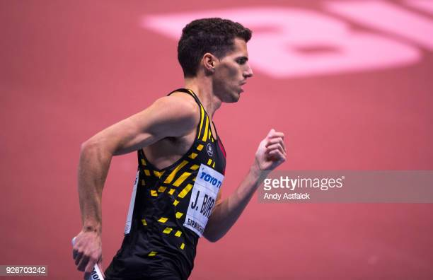 Jonathan Borlee from Belgium during the Men's 4x400m Relay on Day 3 of the IAAF World Indoor Championships at Arena Birmingham on March 3 2018 in...