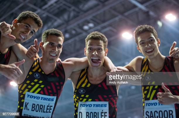 Jonathan Borlee Kevin Borlee Dylan Borlee and Jonathan Sacoor of Belgium celebrate finishing third in the Men's 4x400m Final on Day 4 of the IAAF...