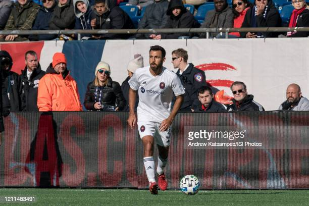 Jonathan Bornstein of Chicago Fire looks to pass during a game between Chicago Fire and New England Revolution at Gillette Stadium on March 7 2020 in...