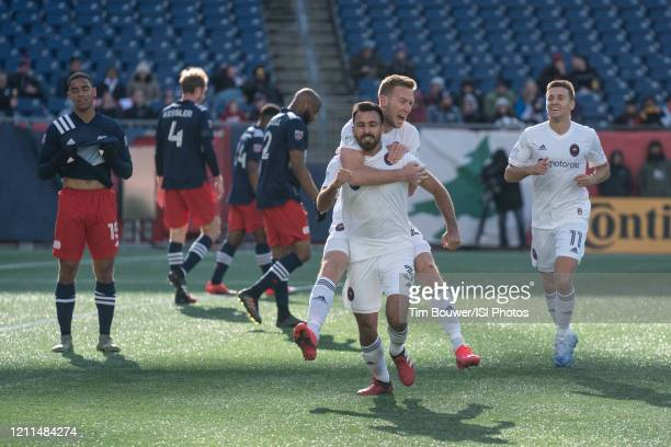 Jonathan Bornstein of Chicago Fire Robert Beric of Chicago Fire and Przemyslaw Frankowski of Chicago Fire celebrate the Chicago Fire goal during a...