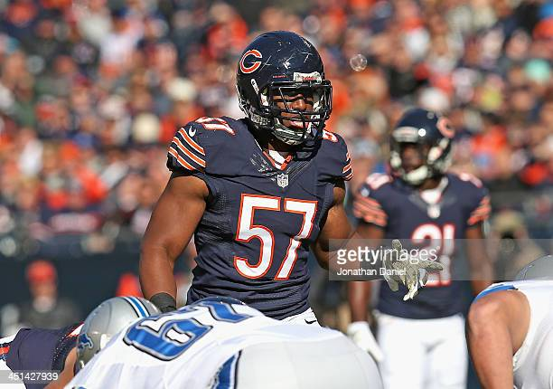 Jonathan Bostic of the Chicago Bears awaits the snap against the Detroit Lions at Soldier Field on November 10 2013 in Chicago Illinois The Lions...