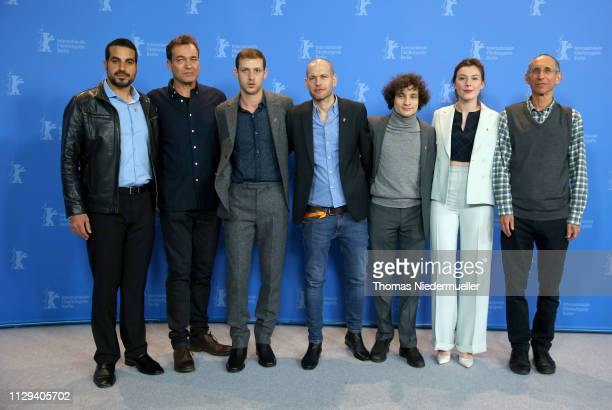 Jonathan Boudina Shai Goldman Tom Mercier director Nadav Lapid Quentin Dolmaire Louise Chevillotte and Screenwriter Haim Lapid pose at the...