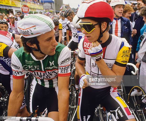 Jonathan Boyer and Greg Lemond talk on the starting line of the San Francisco stage of the Coors Classic bicycle race in August, 1986 in San...