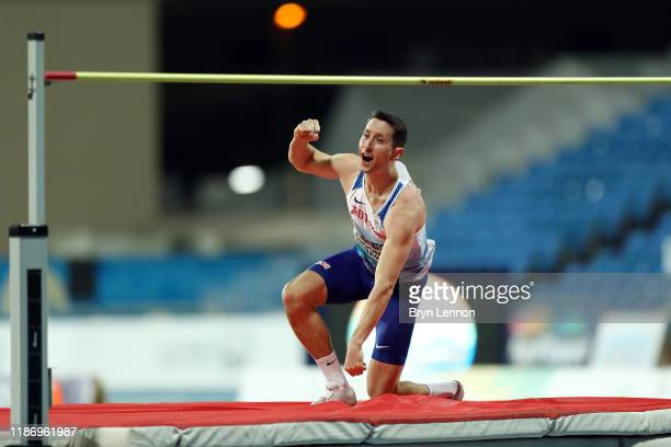 Jonathan BroomEdwards of Great Britain celebrates making his final clearance to win the Men's T64 High Jump Final on Day Five of the IPC World Para...