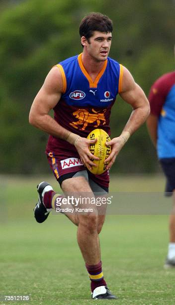 Jonathan Brown of the Lions in action during the Brisbane Lions AFL training session at Coorparoo on March 7, 2007 in Brisbane, Australia.
