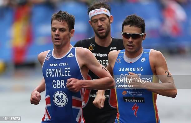 Jonathan Brownlee of Great Britain Sven Riederer of Switzerland and Javier Gomez of Spain compete in the run leg during the 2012 ITU World triathlon...