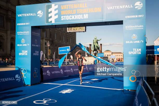 Jonathan Brownlee wins the men's elite race of the Vattenfall World Triathlon Stockholm on August 26 2017 in Stockholm Sweden
