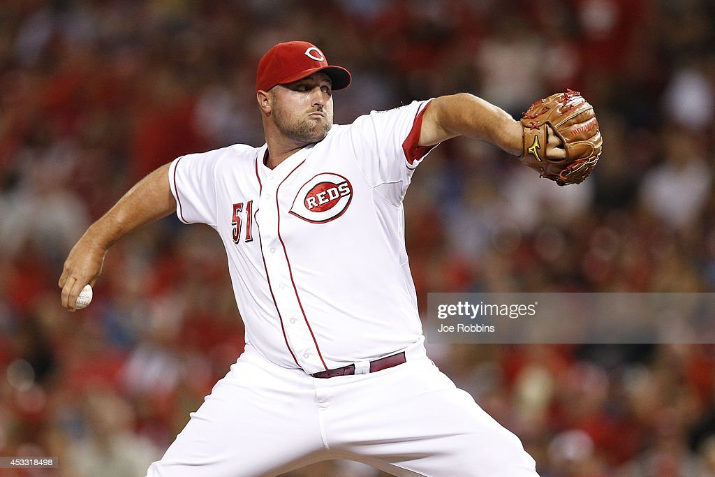 Jonathan Broxton #51 of the Cincinnati Reds pitches in the ninth inning of the game against the Cleveland Indians at Great American Ball Park on August 7, 2014 in Cincinnati, Ohio. The Reds won 4-0.