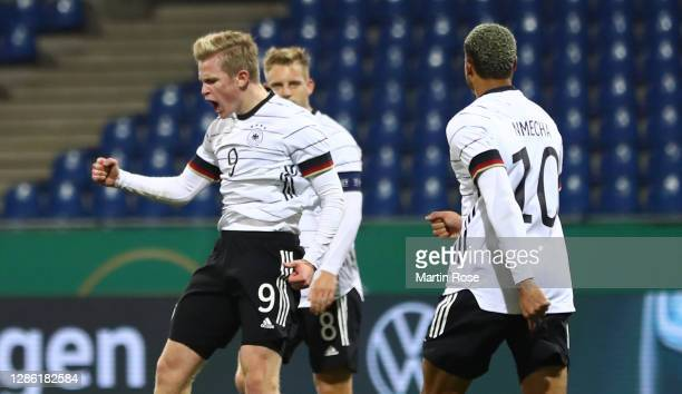 Jonathan Burkardt of Germany celebrates after scoring his teams second goal during the UEFA Euro Under 21 Qualifier match between Germany U21 and...