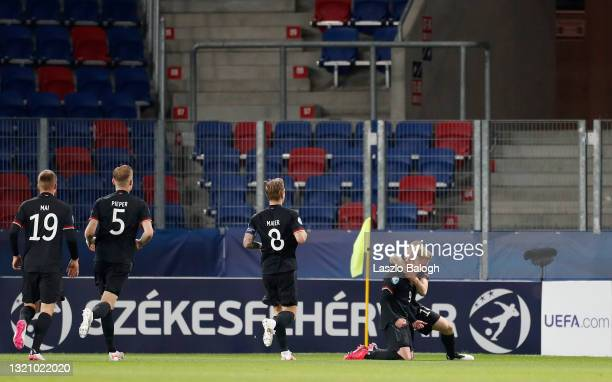 Jonathan Burkardt of Germany celebrates with Paul Jaeckel after scoring their side's second goal during the 2021 UEFA European Under-21 Championship...