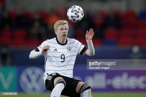 Jonathan Burkardt of Germany U21 during the EURO U21 match between Holland v Germany at the Mol Arena Sosto on June 3, 2021 in Szekesfehervar Hungary