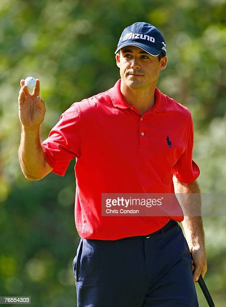 Jonathan Byrd acknowledges the crowd after making a birdie on during the first round of the BMW Championship, the third event of the new PGA TOUR...