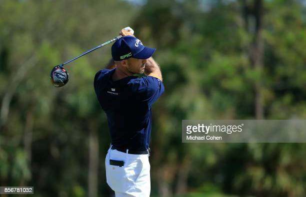 Jonathan Byrd hits his drive on the ninth hole during the fourth and final round of the Webcom Tour Championship held at Atlantic Beach Country Club...