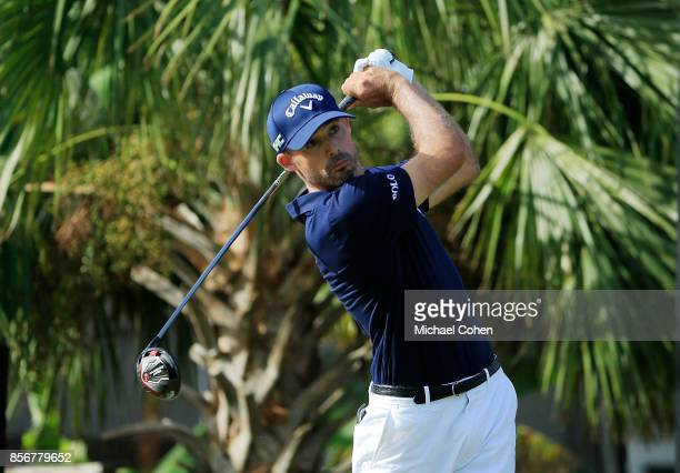 Jonathan Byrd hits his drive on the second hole during the fourth and final round of the Webcom Tour Championship held at Atlantic Beach Country Club...