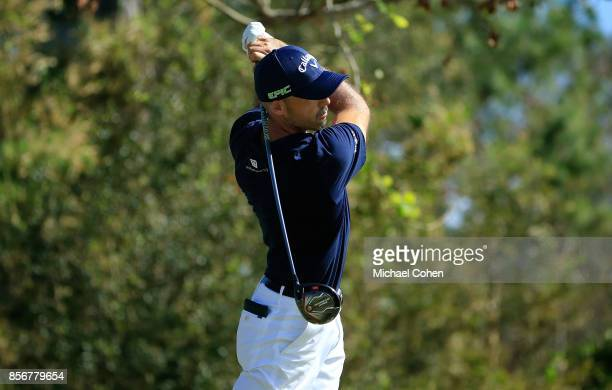 Jonathan Byrd hits his drive on the seventh hole during the fourth and final round of the Webcom Tour Championship held at Atlantic Beach Country...
