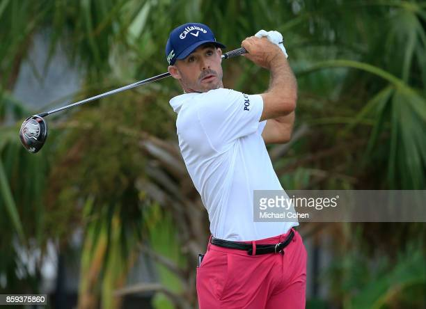 Jonathan Byrd htis a drive during the third round of the Webcom Tour Championship held at Atlantic Beach Country Club on September 30 2017 in...