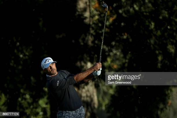 Jonathan Byrd plays a shot on the second hole during the First Round of the Sanderson Farms Championship at the Country Club of Jackson on October 26...