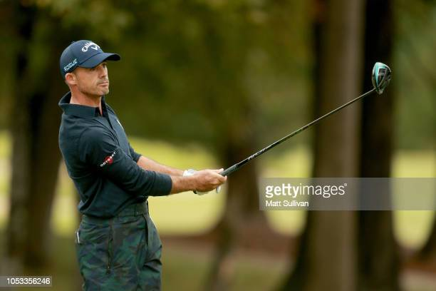 Jonathan Byrd plays his shot from the 18th tee during Sanderson Farms Championship Round One on October 25 2018 in Jackson Mississippi