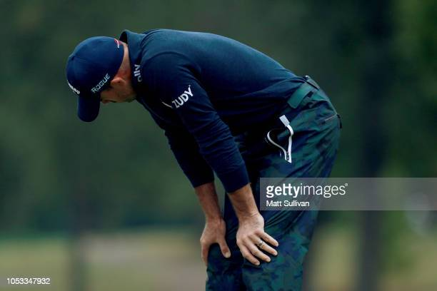 Jonathan Byrd reacts after missing a putt on the eighth green during Sanderson Farms Championship Round One on October 25 2018 in Jackson Mississippi