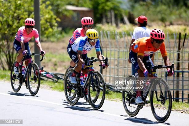Jonathan Caicedo of Ecuador and Team EF Pro Cycling Orange Leader Jersey / Sergio Andres Higuita Garcia of Colombia and Team EF Pro Cycling White...