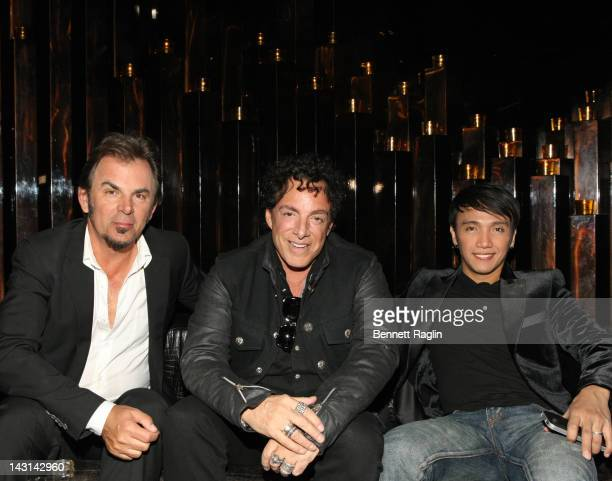Jonathan Cain Neal Schon and Arnel Pineda of Journey attend the preparty for the premiere of 'Don't Stop Believin' Everyman's Journey' during the...