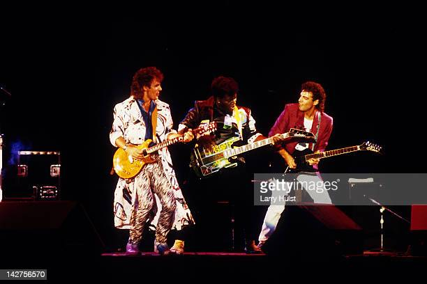 Jonathan Cain Randy Jackson and Neal Schon performing with 'Journey' at the Calaveras County Fairgounds in Jackson California on August 23 1986
