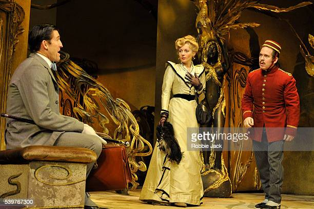 Jonathan Cake as Romain Tournel Lisa Dillon as Raymonde Chandebise and Tom Hollander as Victor Emmanuel Chandebise/Poche in the production of Georges...