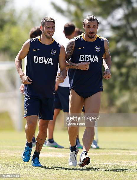 Jonathan Calleri and Daniel Osvaldo of Boca Juniors warm up during Boca Juniors Training Session at Sofitel Cardales Hotel on January 07 2016 in Los...