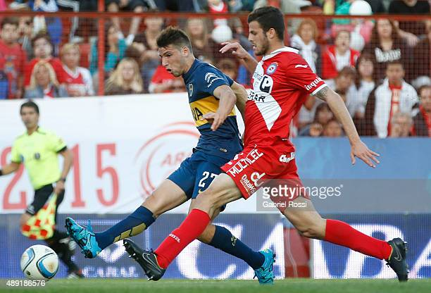 Jonathan Calleri of Boca Juniors shoots to score the third goal of his team during a match between Argentinos Juniors and Boca Juniors as part of...