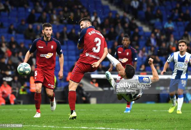 Jonathan Calleri of Espanyol scores his sides second goal during the La Liga match between RCD Espanyol and CA Osasuna at RCDE Stadium on December...
