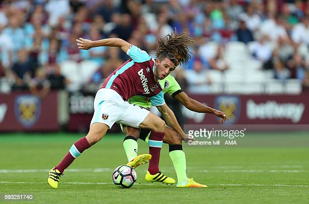 Jonathan Calleri of West Ham in action during the Premier League match between West Ham United and AFC Bournemouth at Olympic Stadium on August 21...