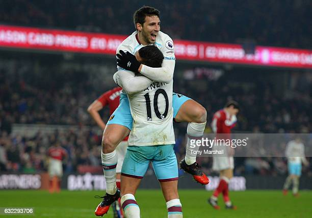 Jonathan Calleri of West Ham United celebrates scoring his sides third goal with Manuel Lanzini of West Ham United during the Premier League match...