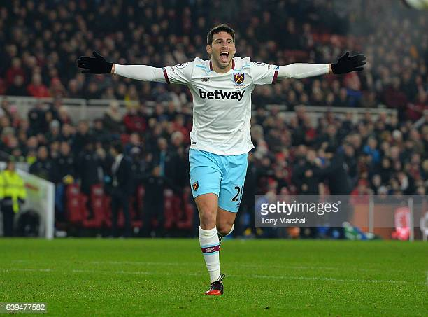 Jonathan Calleri of West Ham United celebrates scoring their third goal during the Premier League match between Middlesbrough and West Ham United at...