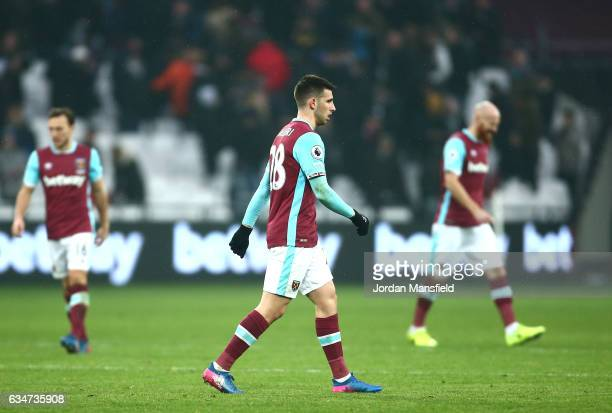 Jonathan Calleri of West Ham United shows dejection after the Premier League match between West Ham United and West Bromwich Albion at London Stadium...