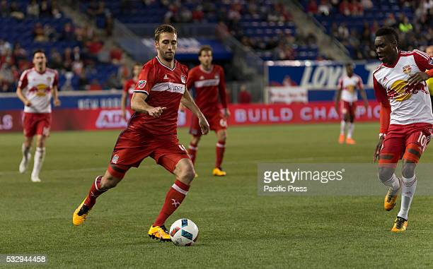 Jonathan Campbell of Chicago Fire controls ball during MLS soccer game against Red Bulls at Red Bull Arena Red Bulls won 10