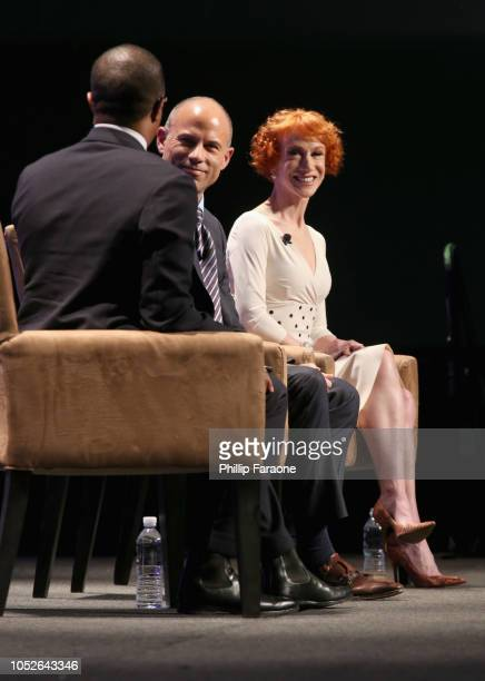 Jonathan Capehart Michael Avenatti and Kathy Griffin speak onstage during Politicon 2018 at Los Angeles Convention Center on October 20 2018 in Los...