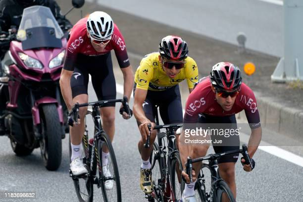 Jonathan Castroviejo of Spain and Team INEOS / Egan Bernal of Colombia and Team INEOS Yellow Leader Jersey / / Chris Froome of United Kingdom and...