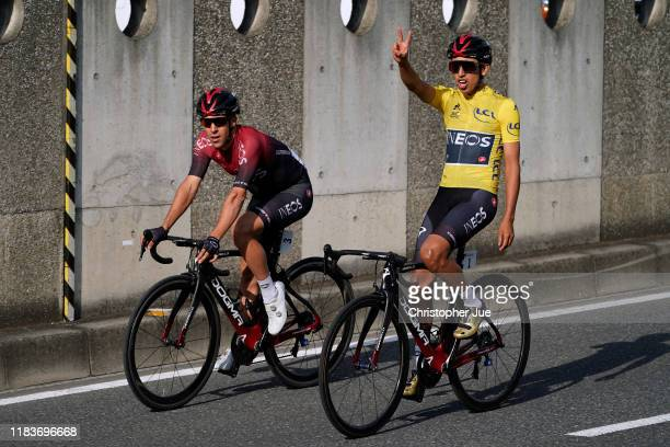 Jonathan Castroviejo of Spain and Team INEOS / Egan Bernal of Colombia and Team INEOS Yellow Leader Jersey / / during the 7th Tour de France Saitama...