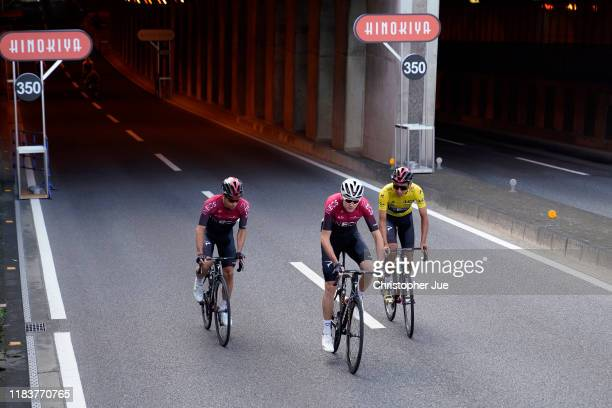 Jonathan Castroviejo of Spain and Team INEOS / Egan Bernal of Colombia and Team INEOS Yellow Leader Jersey / Chris Froome of United Kingdom and Team...