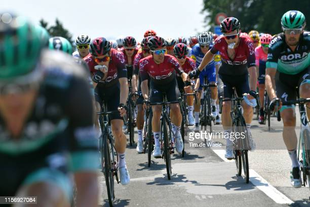 Jonathan Castroviejo of Spain and Team INEOS / Geraint Thomas of United Kingdom and Team INEOS / Feeding / during the 83rd Tour of Switzerland Stage...