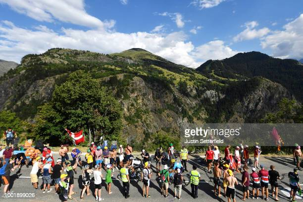Jonathan Castroviejo of Spain and Team Sky / Andrey Amador of Costa Rica and Movistar Team / Alpe d'Huez / Public / Fans / during the 105th Tour de...