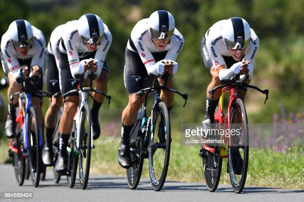 Jonathan Castroviejo of Spain and Team Sky / during the 105th Tour de France 2018 Stage 3 a 355km Team time trial stage / TTT / from Cholet to Cholet...