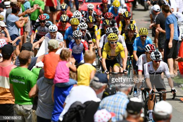 Jonathan Castroviejo of Spain and Team Sky / Geraint Thomas of Great Britain and Team Sky Yellow Leader Jersey / Christopher Froome of Great Britain...